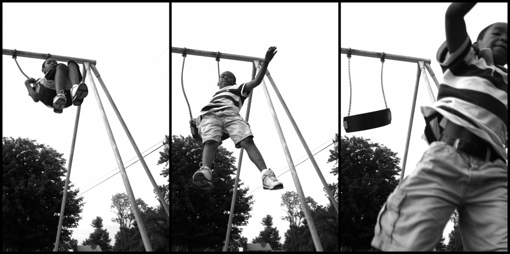 kid on swing triptych